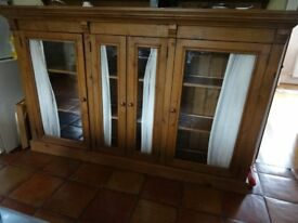 pine cabinet. o'all size lg 2020mm x 1280mm ht x 220mm depth. internal shelves, 4 glass doors