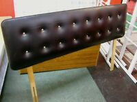 Black Faux Leather Double Headboard with Metal Button Back Studs