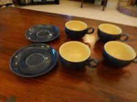 Vintage blue Denby 4 teacups and 2 saucers