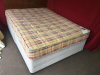 DOUBLE DIVAN BED WITH WOOD HEADBOARD AND MATTRESS,CAN DELIVER