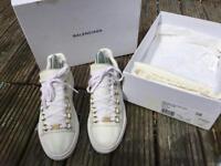 Balenciaga white arenas trainers size 5