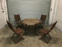 FREE DELIVERY WOODEN FOLDABLE GARDEN TABLE & 4 CHAIRS GOOD CONDITION