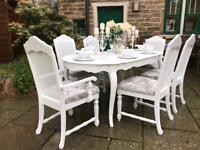 Dining Table & 4 Chairs ~ French Chic ~ Extending