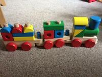 Melissa and Doug Wooden train with stacking blocks