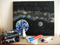 Milk way, earth and moon Original acrylic painting perfect for kids room