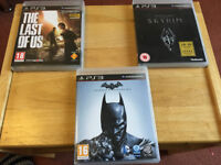 3 PS3 GAMES The Last of Us, Skyrim, Batman Arkham Origins