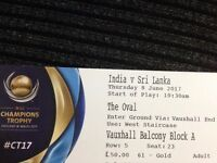 INDIA VS SRILANKA - GOLD Ticket £80 on 8th JUNE at The Oval ICC CHAMPIONS TROPHY 2017
