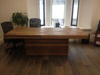 WOODEN RECTANGULAR DINING TABLE BARKER AND STONEHOUSE W225 x D100 x H78cm. Base: W135 x D40cm