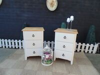 SOLID PINE FARMHOUSE PAIR OF BEDSIDE CABINETS WITH DOVETAIL DRAWERS PAINTED WITH LAURA ASHLEY