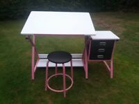 Girls Art /Painting/ Writing Desk with Stool and 3 drawers