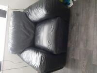Used Black leather sofa