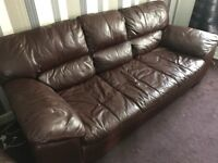 ***Brown leather sofa and armchair***