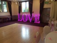 4FT Perspex Illuminated LOVE Letters HIRE
