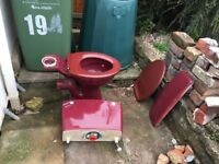 Maroon Colour Toilet - All Inclusive and full working order