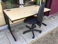 1.4m straight ash office/workshop desk