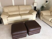 Nappa Leather Sofa, Cream/Yellow. 2 x two seater, 1 x three seater, 2 x Foot Rest in Brown