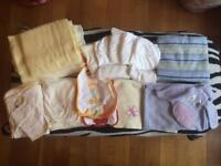 Baby Blankets, Carrycot/Moses basket sheets, Hooded Towel with matching flannel