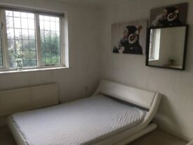 White leather design double bed