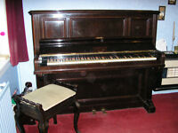 Vintage Upright 1930s Piano by B Squire & Sons plus vintage piano stool