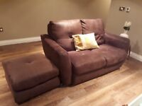 Brown soft leather 2 and 3 seater sofas with large footstool