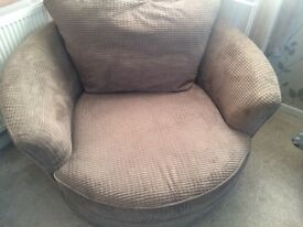 DFS mink / light brown grey colour fabric cuddle seat sofa to go asap