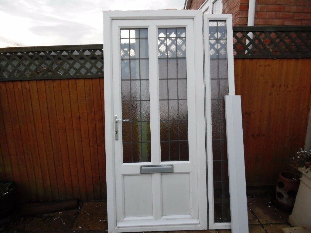 Anglian White Upvc Double Glazed Front Door And Side Panel Cw