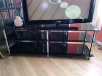 Black Glass & Chrome TV Stand For 50 Inch TV