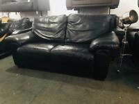 As new 2 top quality black leather 2 seater sofas
