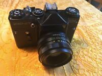 Camera - Zenit EM SLR with Helios-44M 2/58 lens bought new in 1983 in original leather case