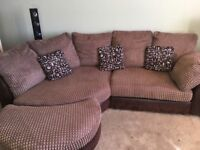 DFS corner sofa with stool and cuddle chair