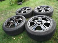 FORD MONDEO/FORD FOCUS ETC,5 STUD 5 X 108,REFURBED BLACK NICE ALLOY WHEELS,C/W CENTRES @ TYRES
