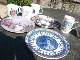 The Queen & Queen Mother Memorabilia - Mugs, Plates & Books