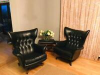 2 x 1960s G-Plan Leatherette Black Armchairs and Footstool