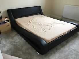 DOUBLE FAUX LEATHER SLEIGH BED (NO MATTRESS) GREAT CONDITION ONLY £75