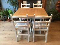 Solid Wood Extending Dining Table With Four Chairs