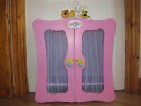 PINK WOODEN BABY BORN wardrobe by ZAPF CREATION - IMMACULATE - Not available in shops + clothes etc