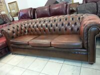 Lovely brown leather 3 setter chesterfield. very good condition.