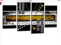 Canvas in Black, grey & yellow 4 piece