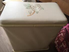 Shabby chic cream faux leather storage, washing basket, storage basket