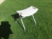 Folding adjustable height shower stool/seat disability aid