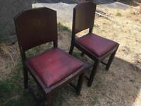 Pair of Vintage 1930s Dark Oak Chairs Shabby Chic Project
