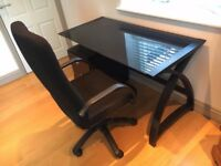 smoked glass top desk with storage cabinet and chair