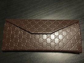 **NEW** New Authentic Foldable Gucci Glasses Case - GG Brown Leather with Gold Lettering £20