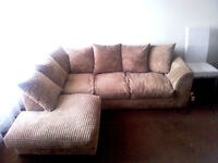 Brown Chanille Cord Corner Sofa