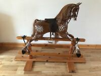 BEAUTIFUL WOODEN ROCKING HORSE, REAL HORSEHAIR MANE & TAIL, GREATLY REDUCED FOR QUICK SALE