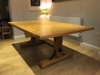 Extra Large Industrial Bespoke Rustic Oak Base Pine Top 12 Seater Dining Table 200 x 130cm