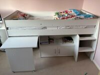 Loft Beds X2 with pull out desks and storage cupboard