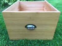 Solid White Oak/Pine Large Wooden Storage Drawer Box with Handle Toy Log Box