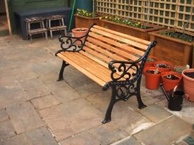 Fully Refurbished Cast Iron Garden Bench with Oak Slats