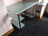 Pc table computer desk glass